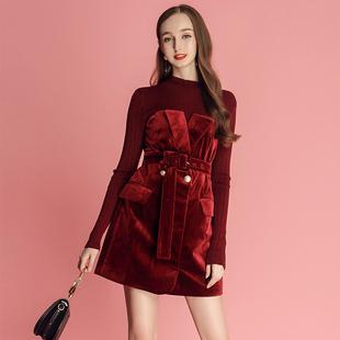 MIUCO2018 новый юбка благородный темперамент отпуск вязание сращивание бархат платье женский осенний зима