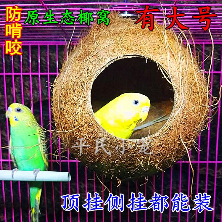 HAINAN Coconut Shell Bird House Tiger Skin Pearl Bird Parrot Nest Big Bird Nest Warm Anti-bite Bird Nest for Budgie Parakeet Cockatiel Parakeet Canary Finch Lovebird