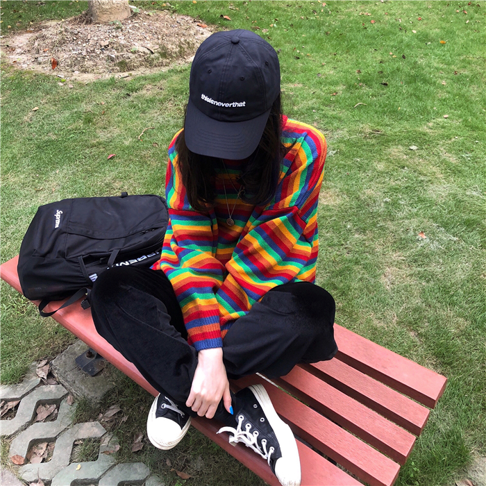 Female Korean Harajuku Hong Kong-flavored Loose Striped Sweater Women's Sweaters Japanese Kawaii Ulzzang Clothing For Women 19