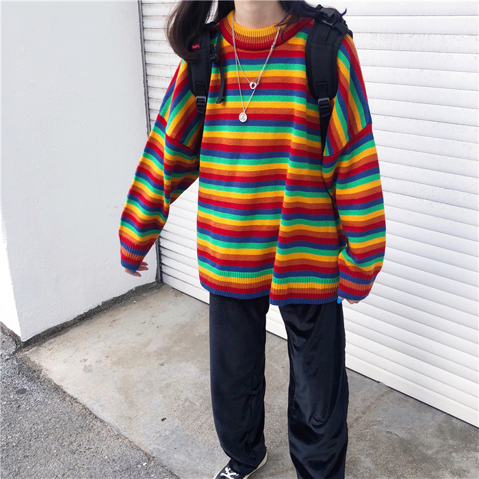 Female Korean Harajuku Hong Kong-flavored Loose Striped Sweater Women's Sweaters Japanese Kawaii Ulzzang Clothing For Women 1