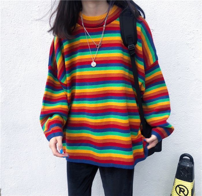 Female Korean Harajuku Hong Kong-flavored Loose Striped Sweater Women's Sweaters Japanese Kawaii Ulzzang Clothing For Women 2