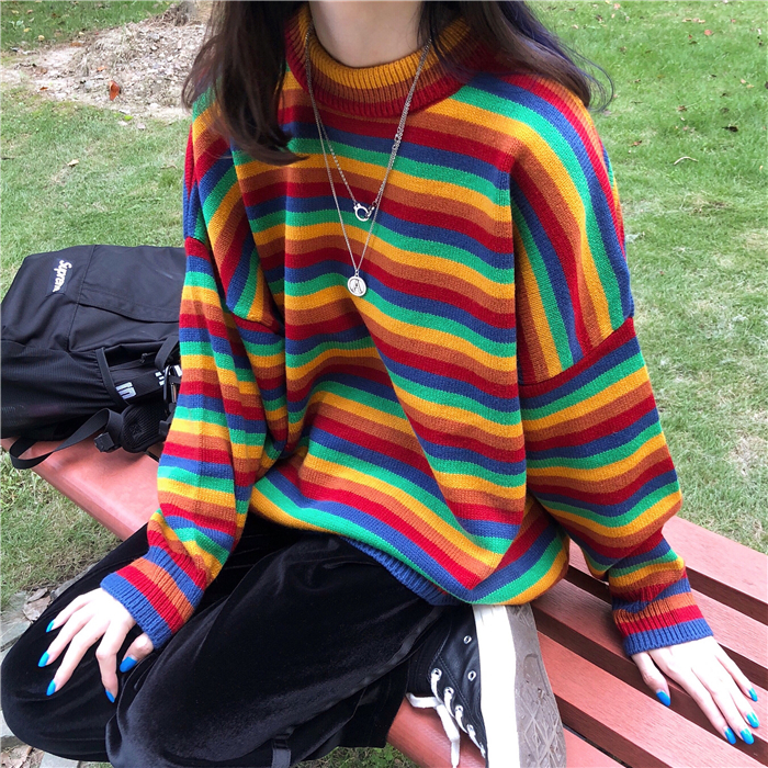 Female Korean Harajuku Hong Kong-flavored Loose Striped Sweater Women's Sweaters Japanese Kawaii Ulzzang Clothing For Women 18