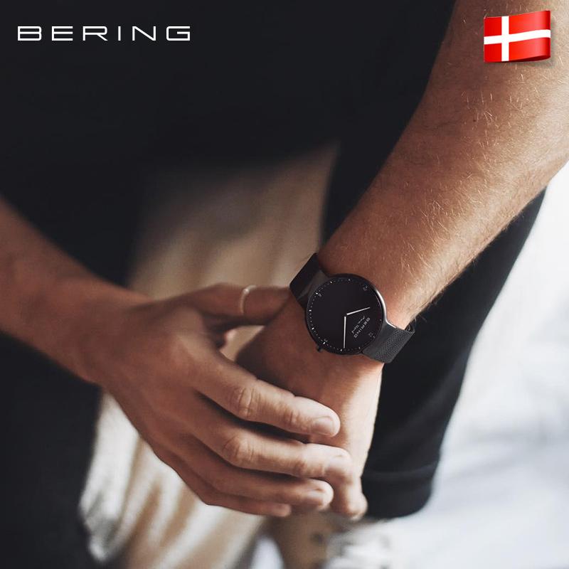 bering白令情侣简约手表,黑白商务风男女款