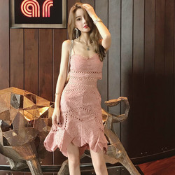 Retro ladies temperament sexy hollow heavy lace embroidery short sling irregular lace slim skirt suit