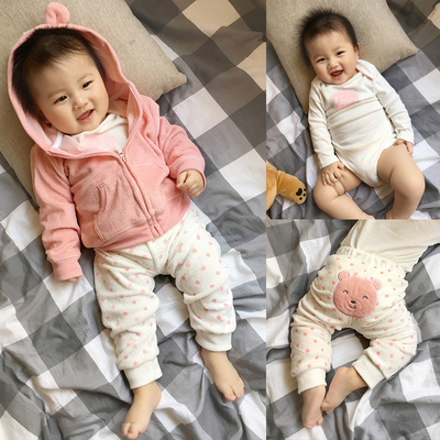 Newborn men and women baby suit hooded cardigan jacket long-sleeved shirt Siamese Romper three-piece suit children's clothing