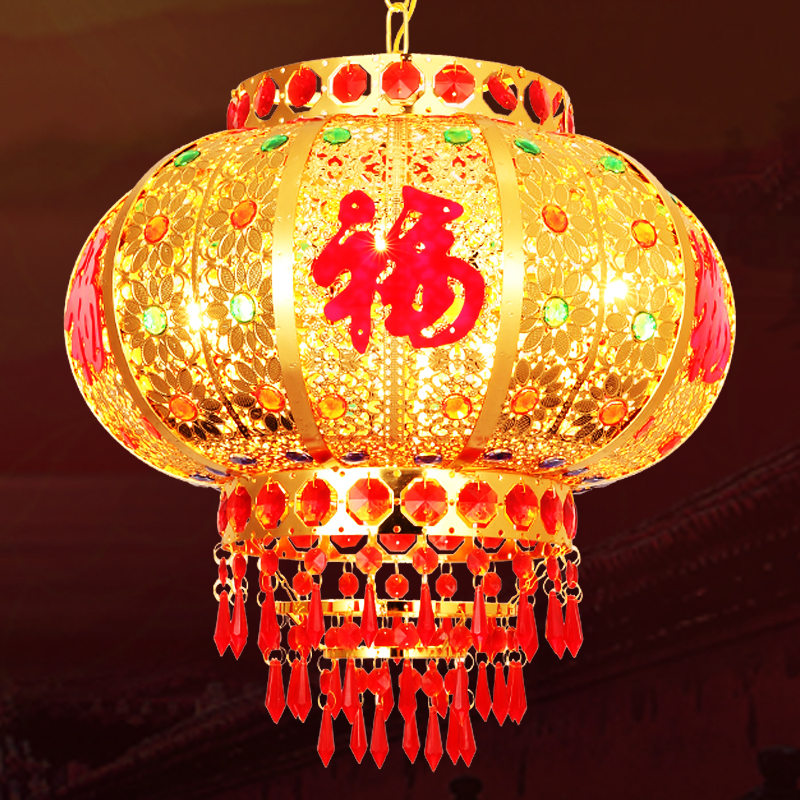 Red lantern hanging decoration New Year Spring Festival wedding housewarming kerosene lamp LED Crystal rotating Chinese balcony chandelier