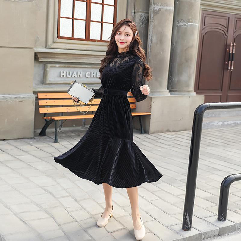 实拍实价 2019春季新款半高领丝绒高腰长款镂空蕾丝连衣裙
