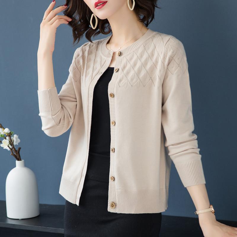 2020春秋新款羊绒毛衣女短款针织衫韩版大码宽松长袖薄款开衫外套