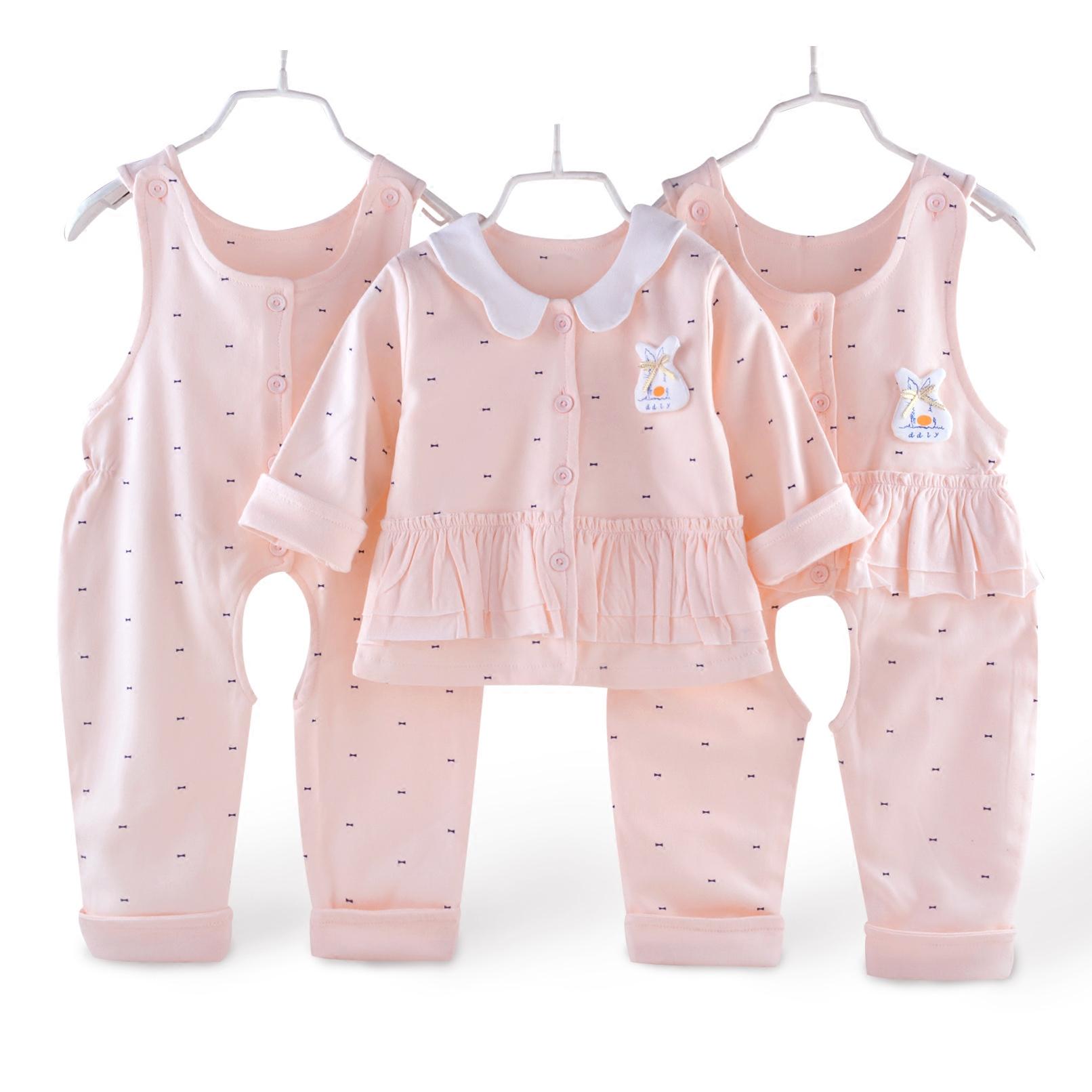 背带裤套装女婴幼儿纯棉宝宝三件套双层外出穿小童春秋款夹衣马甲