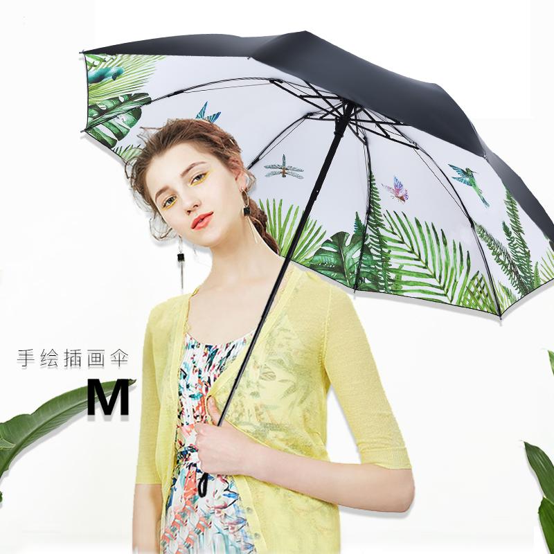 羚羊早安 夏季晴雨伞女折叠黑胶防晒防紫外线晴雨两用太阳伞