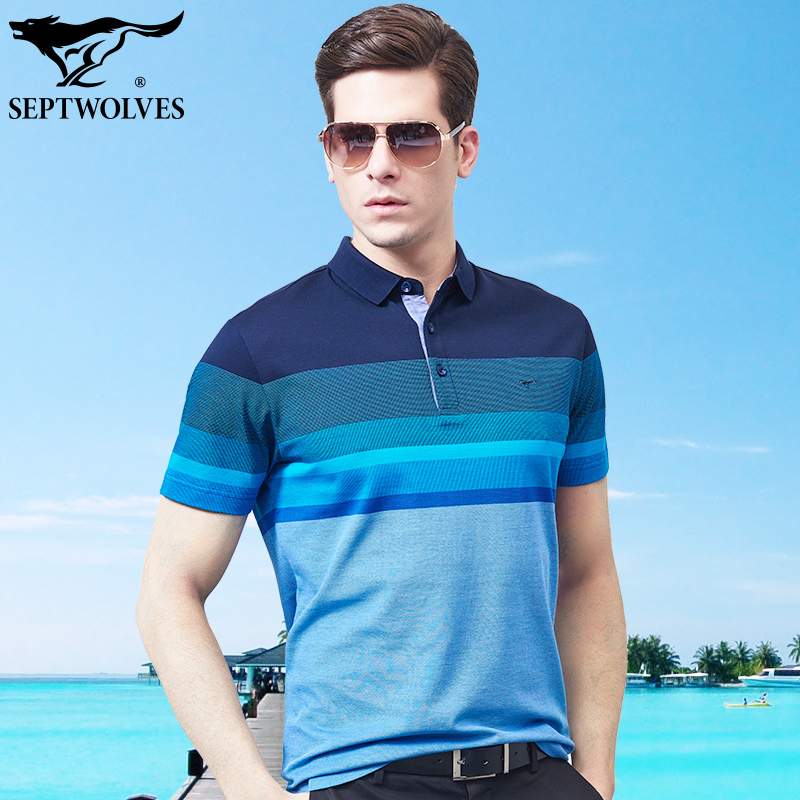 78a1190f11c Seven wolves short-sleeved T-shirt male mercerized cotton 2019 summer new men  middle-aged lapel polo shirt father men