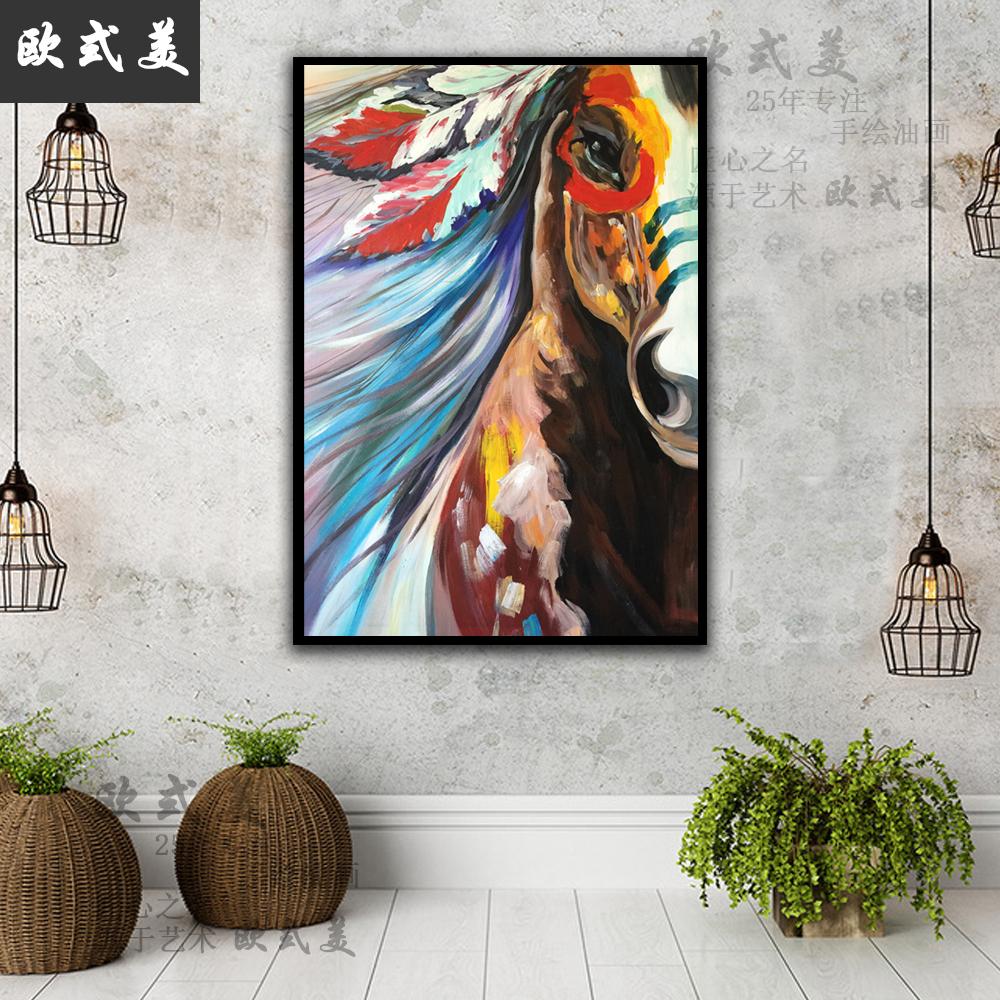纯手绘玄关装饰画现代简约客厅挂画马油画抽象波普马过道竖版壁画