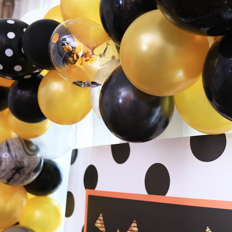 Black gold theme adult birthday party party decoration Black