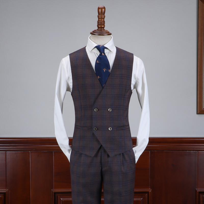 IsirHonour Anh retro kẻ sọc màu nâu Slim vest đôi ngực phù hợp với phiên bản châu Âu và Hàn Quốc của áo ghi lê nam - Dệt kim Vest