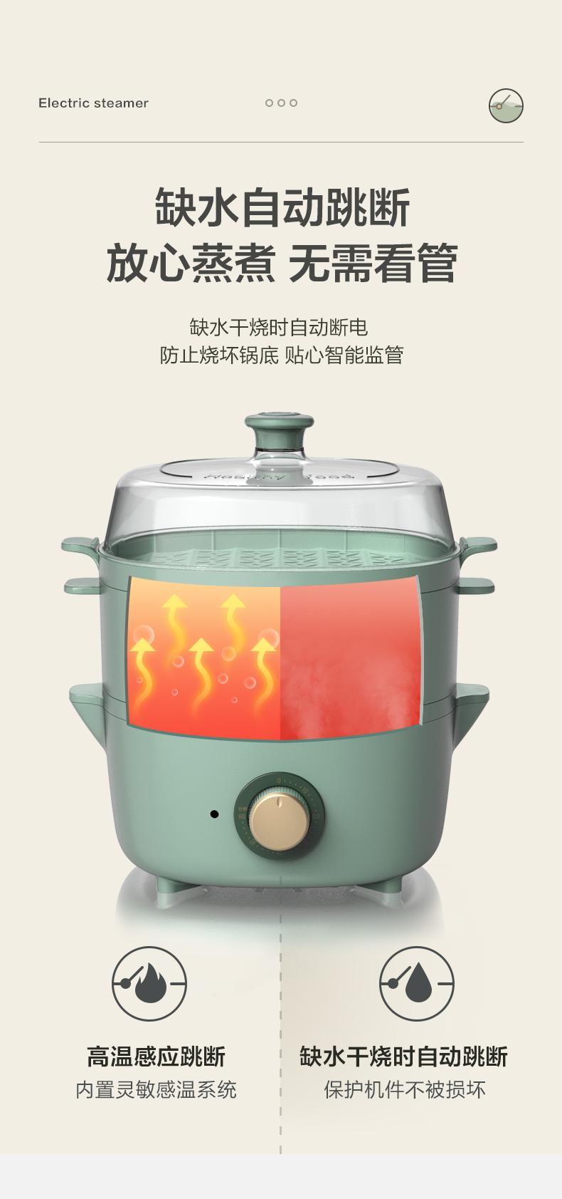 小熊电蒸锅家用小型早餐机双层大容量多功能蒸气锅自动断电蒸笼详细照片