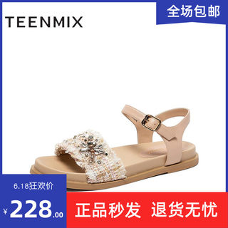 Teenmix / Teenmix 2020 summer new women's small fragrant wind muffin bottom rhinestone sandals CT405BL0