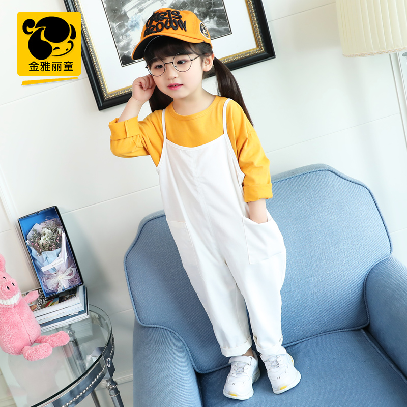 cc3759bb79c1 Children s clothing girls spring suit 2018 new Korean version of the little  girl strap pants children Fashion long-sleeved two-piece tide