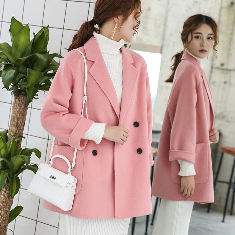 简约宽松百搭秋冬毛呢粉色羊绒女2019年新款中款外套双面a秋冬大衣