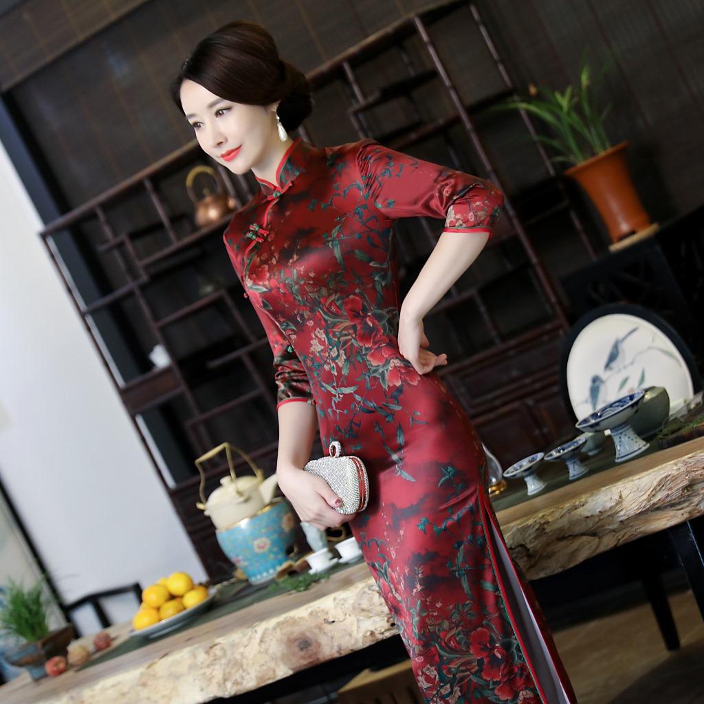 苏州长款旗袍连衣裙高贵优雅秋冬新款气质大码香云纱中老年妈妈装