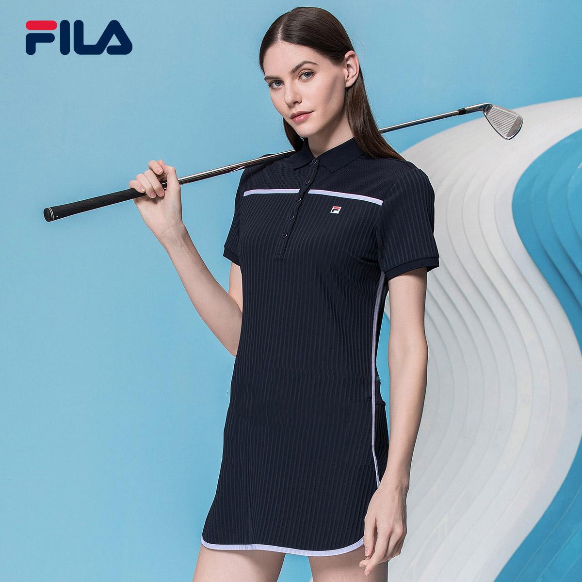 Fila fila golf của phụ nữ dress 2018 new thể thao giản dị ngắn tay áo polo cổ áo dress