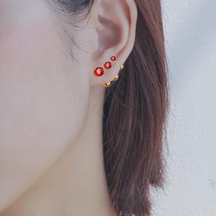 中国风红色耳饰螺丝耳饰3件套