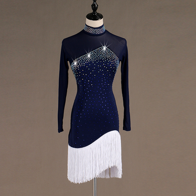 Sexy Latin Dance Competition Dresses Comfortable tassels dress Rhinestones Sleeveless Dress