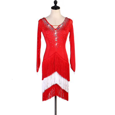 Latin Dance Dresses Latin Dance Competition Dresses Latin Dance Costume Latin Dance Chacha Dance Dress Long Sleeve