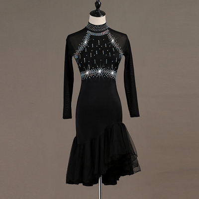 Latin Dance Dresses professional high-end drill-inlaid Rumba three-step performance clothes Rhinestones Long Sleev Dress