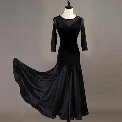 Ballroom Dance Dressessexy through yarn! Professional Modern Dance Apparel New High-grade Velvet National Standard Dance Dress