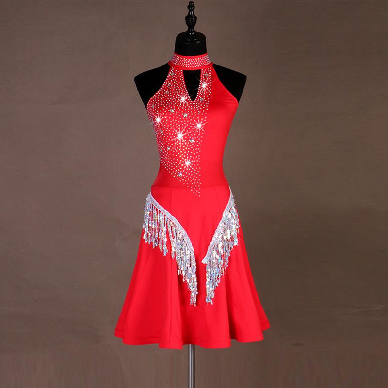 High-end Latin skirt professional competition dress sequins tassels dress customizable for children