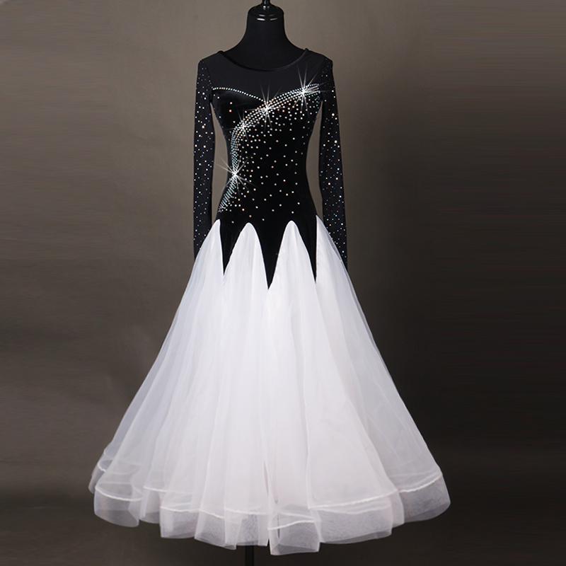 Ballroom Dance Dresses Women's Performance Chinlon Appliques / Splicing / Paillette Long Sleeve High Dress