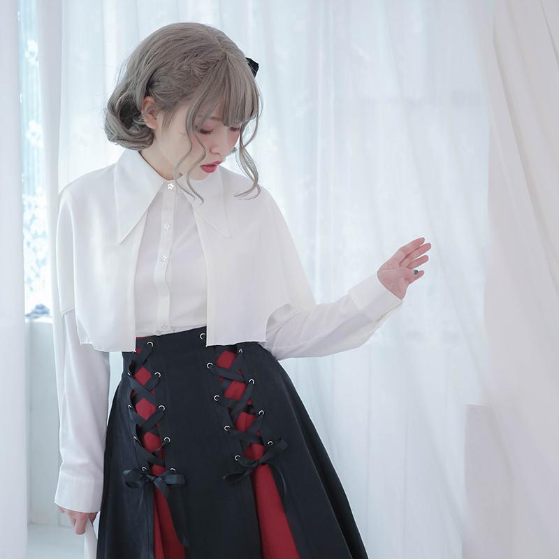 [DollyDelly]原创*小恶魔*可拆式斗篷燕尾雪纺衬衫无袖长袖 黑白