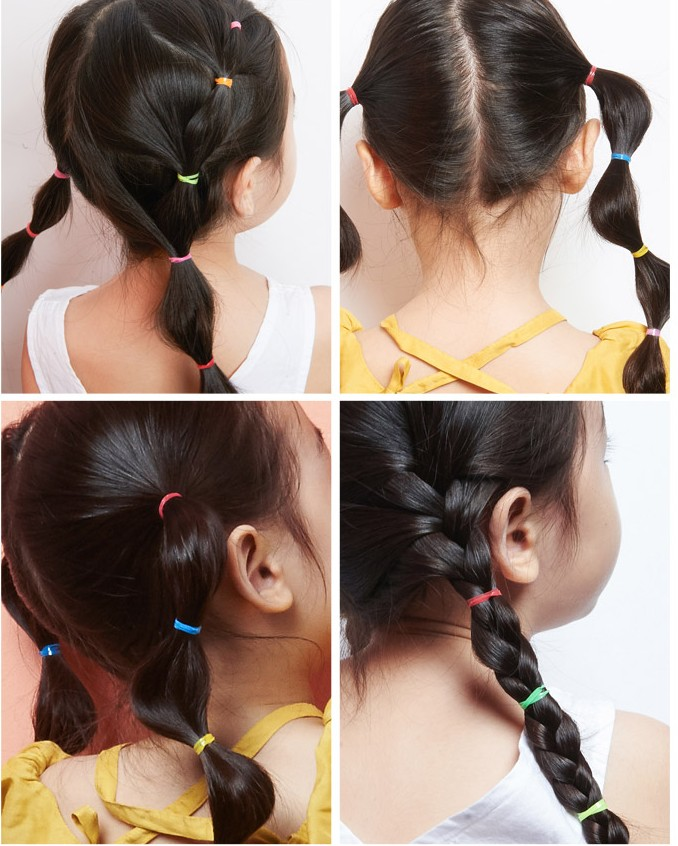Fashion Kids Baby Female Solid Color Bow Hair Rope Rubber Band Girl Apron Rubber Band Tiara Hair Accessories Hair Ring Girl's Hair Accessories