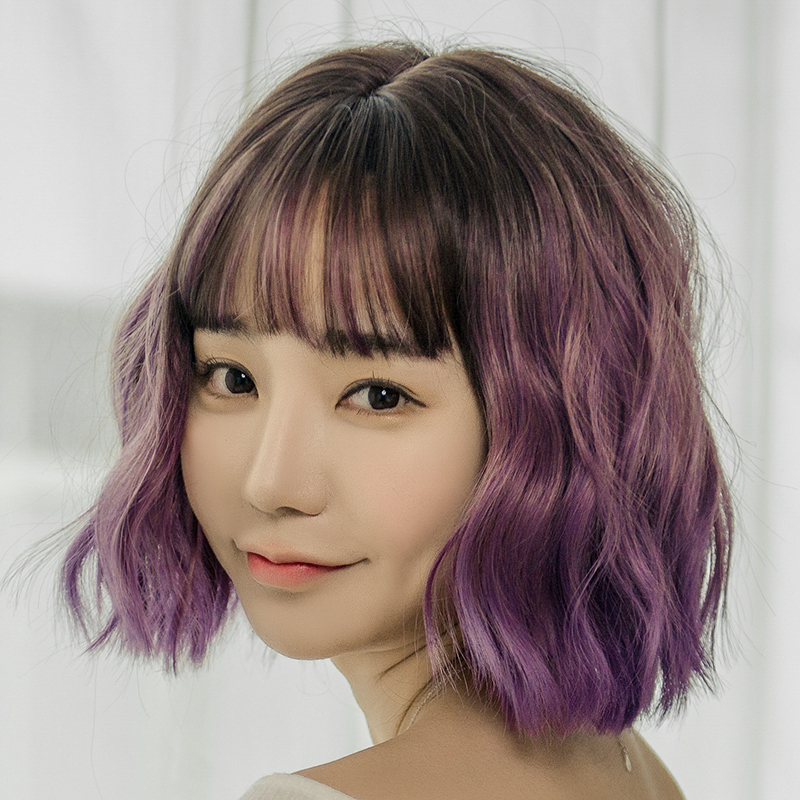 Wig Female Short Hair Round Face Korean Water Ripple Repair Collarbone Natural Temperament Curly Corn Hot
