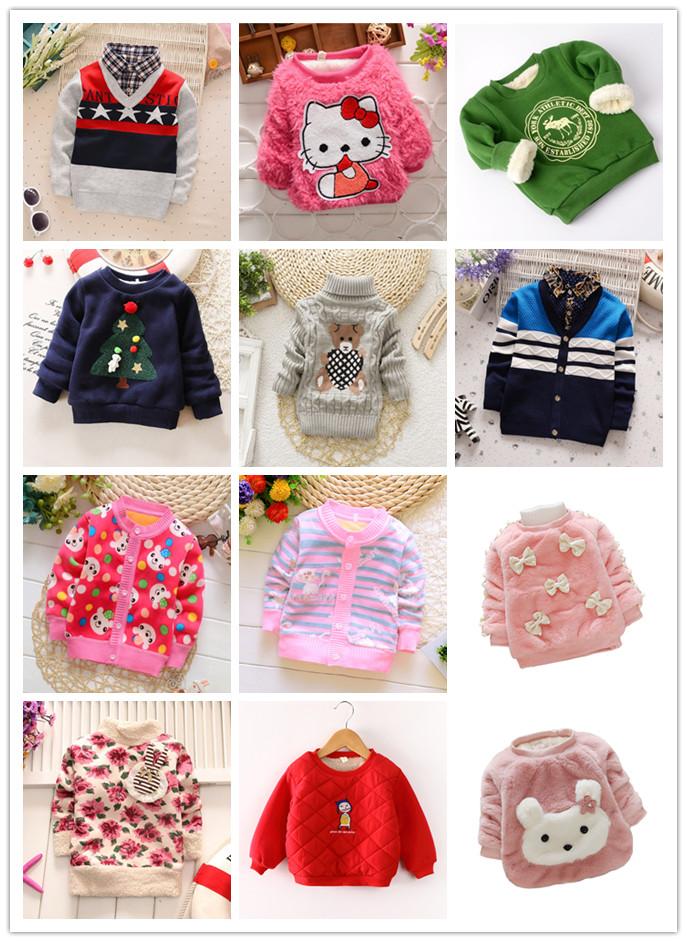 Children's plus Sweater Sweater Medium and Small Children's Winter Boys Thicken Warm Jacket Children's Wear Baby Girl's Turtleneck Top