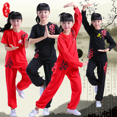 Children's Wushu Clothes  Boys Girls'Taiji Gongfu Clothes Wushu Museum Training Clothes Long and Short Sleeve Wushu Performance Clothes