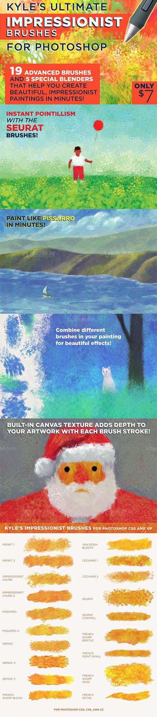 Kyle's IMPRESSIONIST Brushes for PS,极品PS工具预设-印象派笔刷