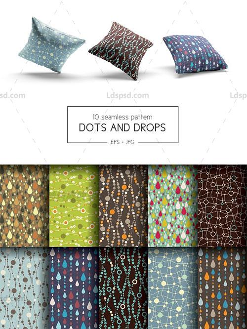 10个可无缝拼接的矢量艺术点滴图案:Dots and drops patterns
