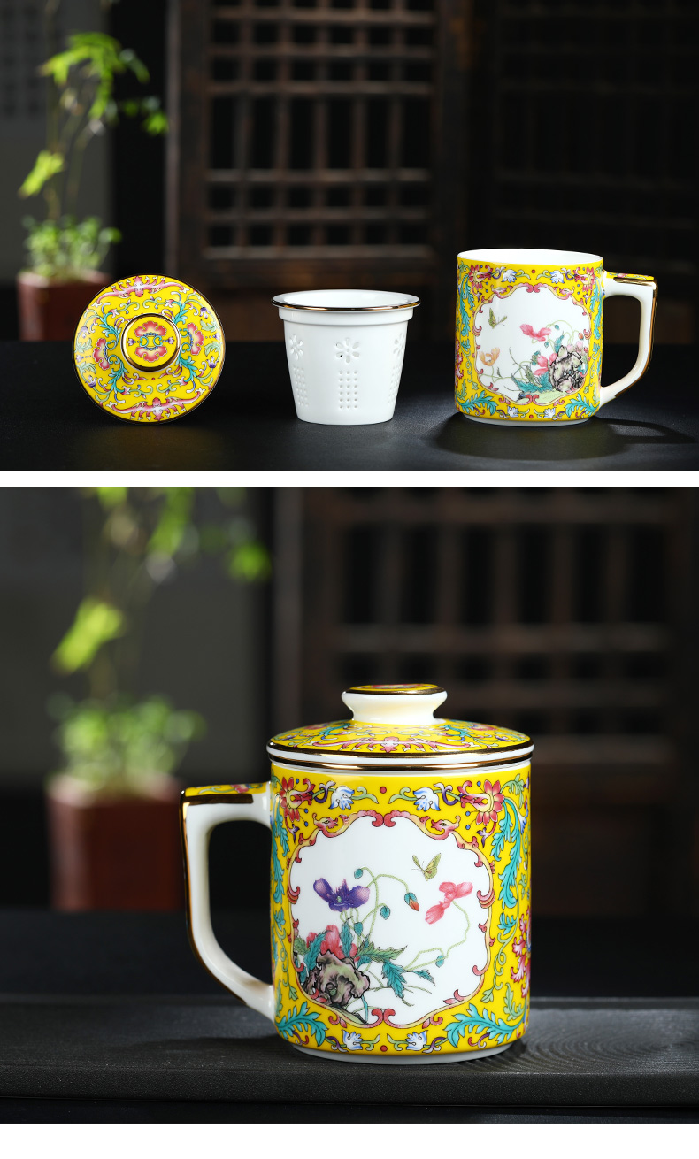 Jingdezhen ceramic filter cups with cover individuals dedicated high - grade enamel glass glass office tea cup