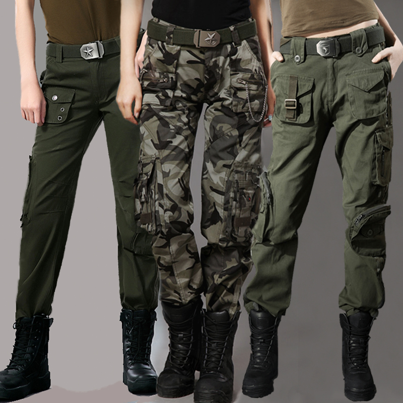 cd09489c3bc2b American camouflage pants women loose high waist overalls army green  multi-pocket tactical military uniforms outdoor casual long pants