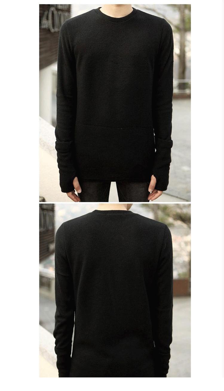 Mùa thu và mùa đông Hàn Quốc phiên bản của màu đen ngay cả găng tay cao cổ áo len nam tự trồng đống cổ áo dệt kim áo len nam bib áo khoác