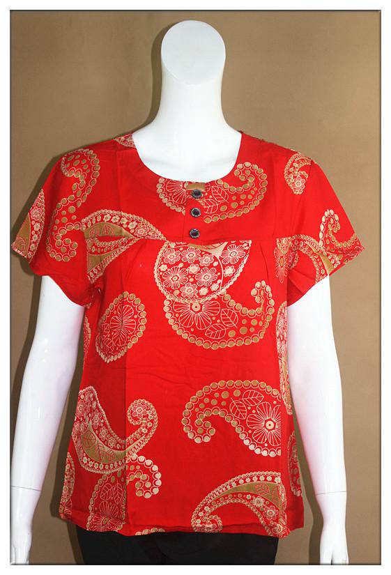 Phụ nữ trung niên mùa hè đồng phục áo bông bà già bằng lụa cotton ngắn tay mẹ đầm rộng kích thước bà T - Phụ nữ cao cấp