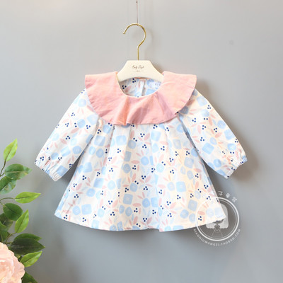 2017 autumn and winter new Korean version of the brand children's clothing 0-4-year-old female baby hit color floral infant long-sleeved dress 3