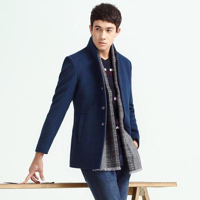 柒 thương hiệu áo len nam áo khoác mùa thu và mùa đông nam thời trang đứng cổ áo kinh doanh bình thường len nam áo khoác mỏng Áo len