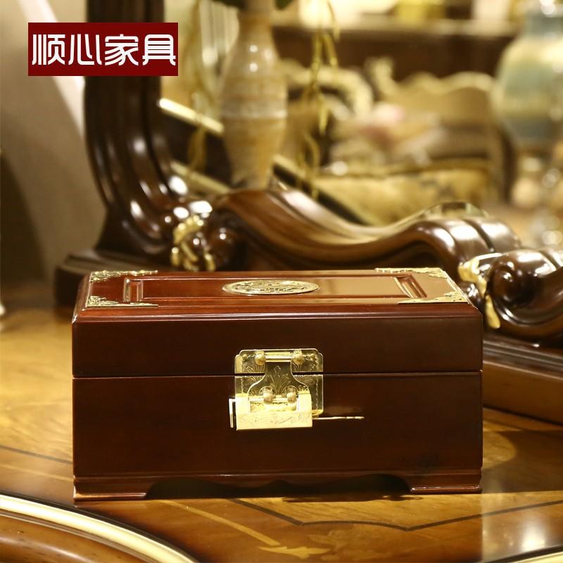 Đồ trang sức quà tặng đồ nội thất đám cưới long não hộp gỗ hộp đồ trang sức cổ hộp đựng đồ trang sức hộp gỗ rắn có nội thất - Cái hộp