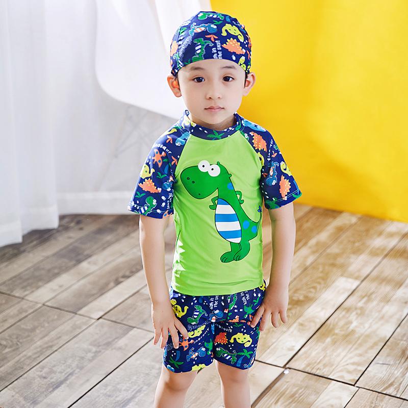 bb814bed1d Boys swimsuit 3 children 4 children 5 large children 6 Baby 7 split swimsuit  8 children swim cap swimsuit 9-year-old wear