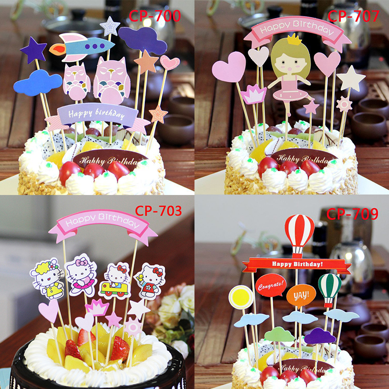 Cake Baking Childrens Birthday Flag DIY Layout Decoration Card Party Supplies