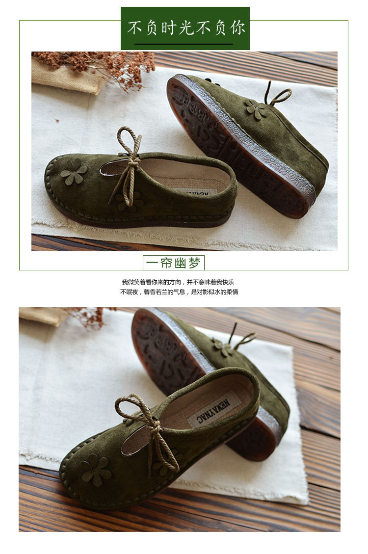 2018 autumn new mori literary retro flat single shoes Japanese suede wild casual shoes classic women's shoes 14