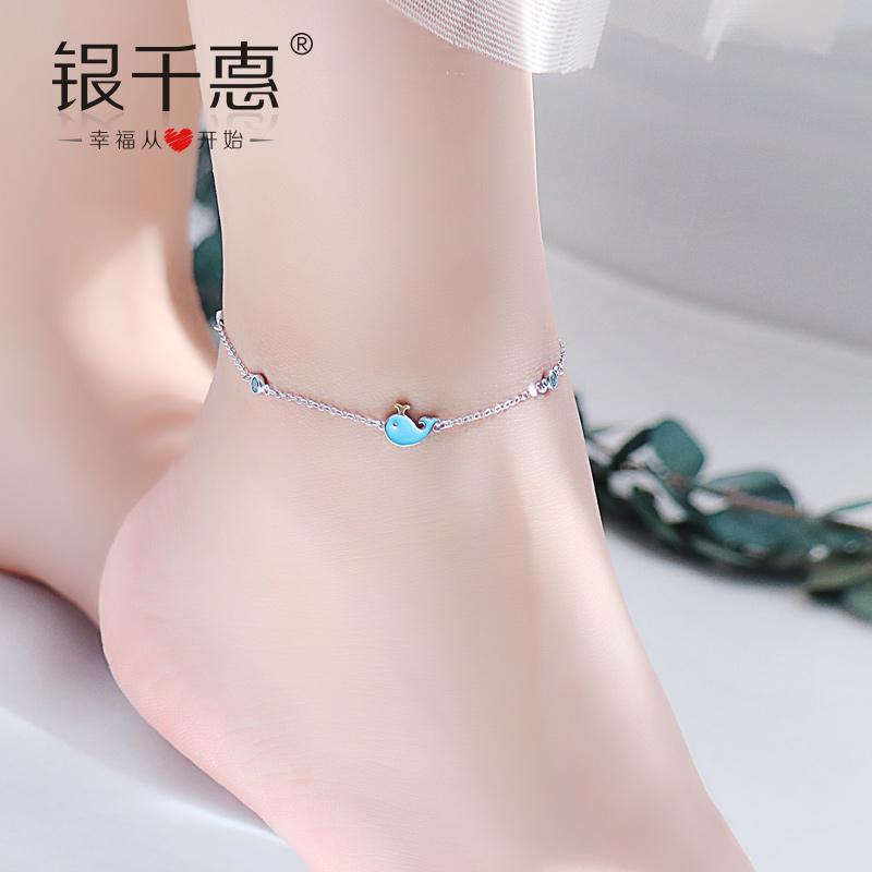 蓝色海豚925纯银2019新款脚链女韩版社会女性感简约清新学生森系