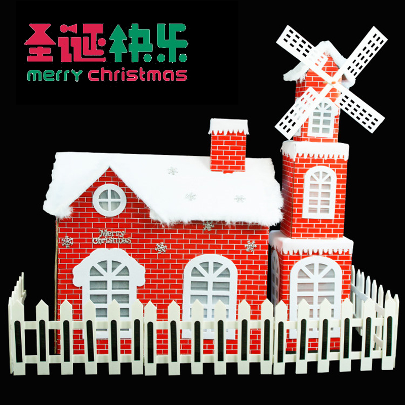 Christmas interior scene decoration windmill house set Red Christmas house Snow house wooden house decoration props